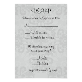Black and gray victorian damask rsvp card