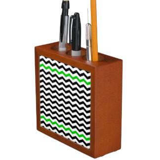 Black and Green Chevron Zigzag Desk Organizer