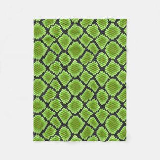 Black and Green Snakeskin Fleece Blanket