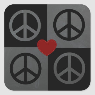Black and grey blocks and reverse peace symbols square stickers