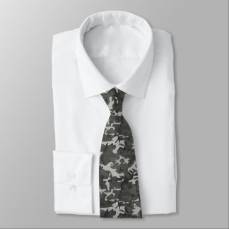 Black and Grey Camo Patterned Tie