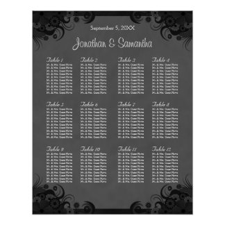 Black and Grey Goth Wedding 12 Table Seating Chart