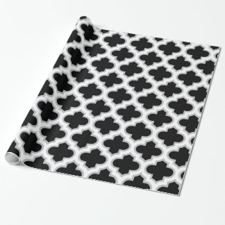 Black and Grey Lattice Pattern Wrapping Paper