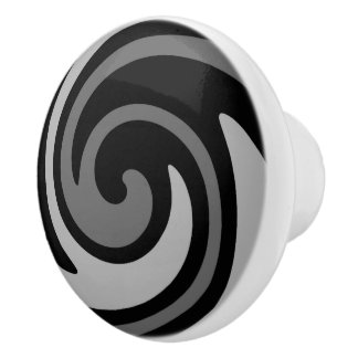 Black and grey modern abstract swirl ceramic knob