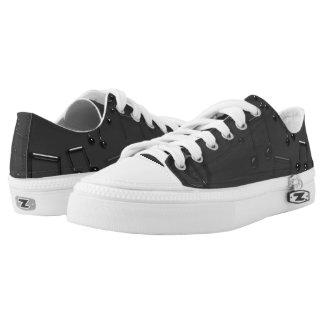 Black and Grey Musical Notes Printed Shoes