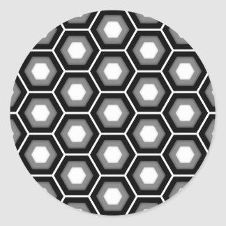 Black and Grey Tiled Hex Round Sticker