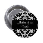 Black and grey victorian damask mother of bride button