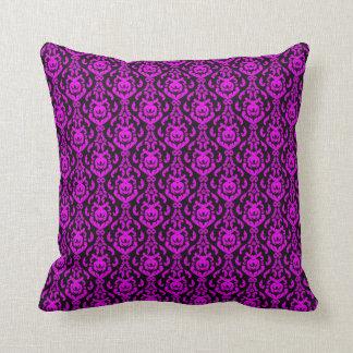 Black and Hot Pink Damask Pattern Cushion