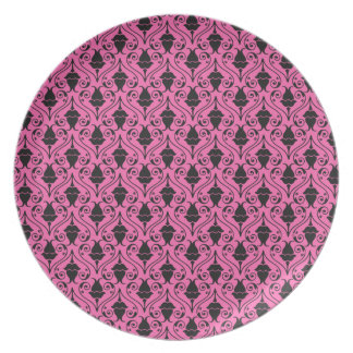 Black and Hot Pink Fuchsia Floral Damask Pattern Plate