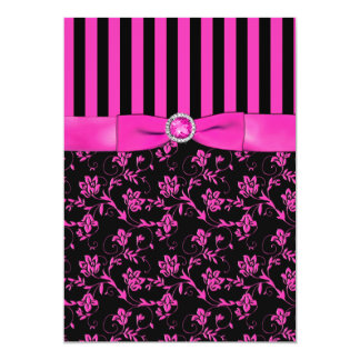 Black and Hot-Pink Striped and Jewelled Invitation