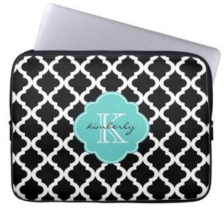 Black and Light Aqua Moroccan Quatrefoil Print Laptop Sleeve