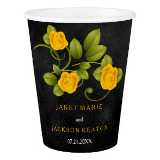 Black and Marigold Yellow Rose Wedding Paper Cup