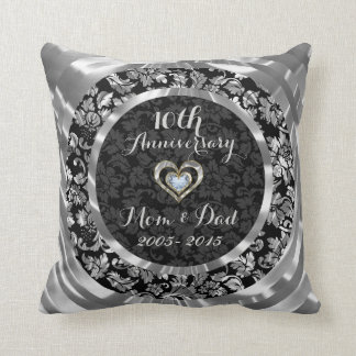 Black And Metallic Silver 10th Wedding Anniversary Throw Pillow