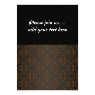 Black and Orange Bronze Damask 13 Cm X 18 Cm Invitation Card