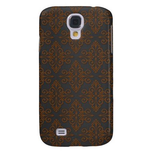 Black and Orange Bronze Damask HTC Vivid Covers
