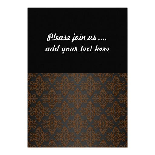 Black and Orange Bronze Damask Personalized Announcement