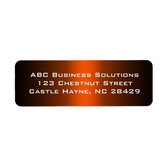 Black and Orange Business Return Address Sticker