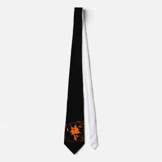Black and orange Halloween tie with witch on broom