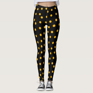 Black and Orange Polka Dotted Leggings