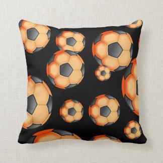 Black and orange Soccer Design Throw Cushions