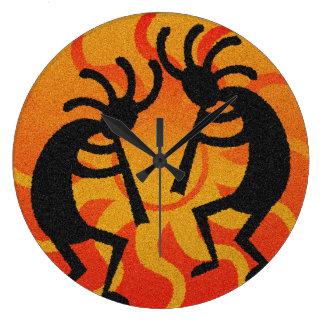 Black And Orange Southwest Kokopelli Tribal Sun Large Clock