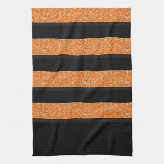 Black and orange stripes kitchen towel