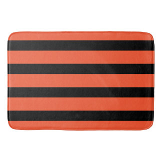 Black And Orange Stripes Retro Pattern Bath Mat