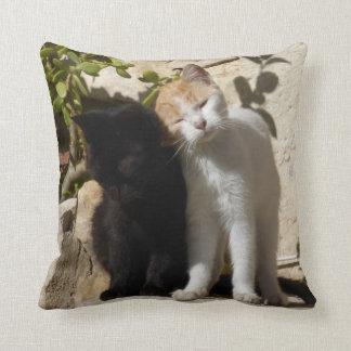 Black and orange white cute kittens throw pillow