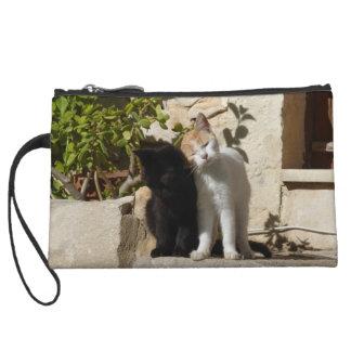Black and orange white cute kittens wristlet
