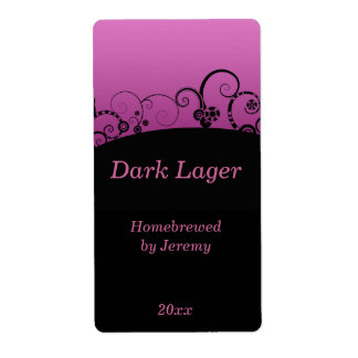Black and Pink Beer Label