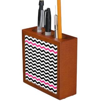 Black and Pink Chevron Zigzag Desk Organizer