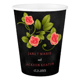 Black and Pink Coral Rose Wedding Paper Cup