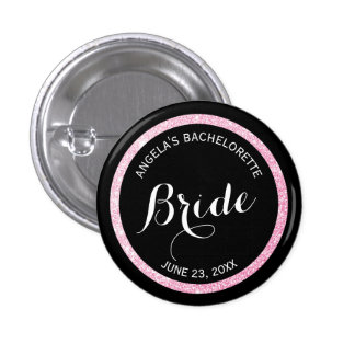 Black and Pink Glitter Brides Bachelorette Party 3 Cm Round Badge