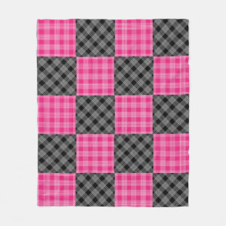 Black and Pink Plaid Fleece Blanket