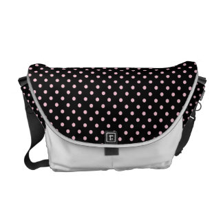 Black And Pink Polka Dot Pattern Commuter Bags