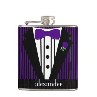 Black and Purple Tuxedo- Groomsmen Gift Hip Flask