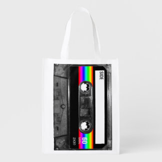 Black and Rainbow Stripe Label Cassette Reusable Grocery Bag
