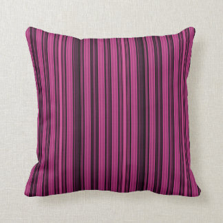Black and Raspberry Colored Stripe Throw Pillow