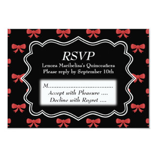 Black and Red Bows Pattern Print Quinceanera Card