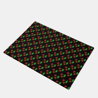 Black And Red Cherries Pattern Doormat