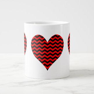 Black and Red Chevron Heart Jumbo Mug