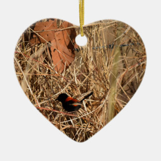 BLACK AND RED FINCH RURAL QUEENSLAND AUSTRALIA CERAMIC HEART DECORATION