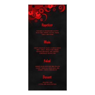 Black and Red Floral Wedding Dinner Menu Cards Customised Rack Card