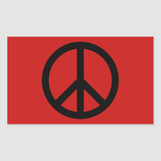 Black and Red Peace Symbol Rectangle Stickers