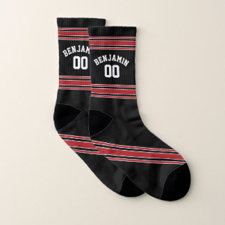 Black and Red Sports Jersey Custom Name Number Socks
