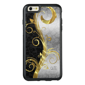 Black And Silver Damask OtterBox iPhone 6/6s Plus Case