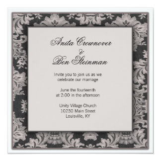 Black and silver damask Wedding Floral Card
