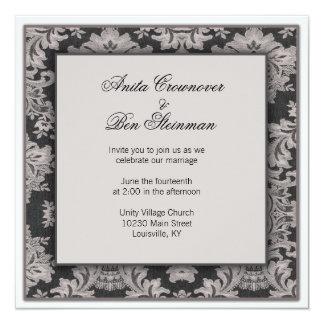 Black and silver damask Wedding Floral 13 Cm X 13 Cm Square Invitation Card