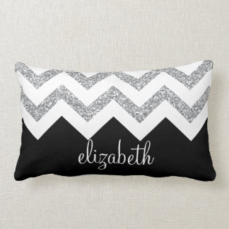 Black and Silver Glitter Print Chevrons and Name Cushion