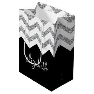 Black and Silver Glitter Print Chevrons and Name Medium Gift Bag